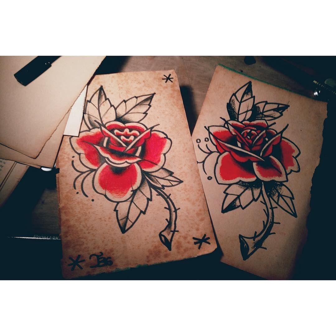 Estudos da noite ❤️ #rosetattoo #redrose #boldline #traditionaltattoo #oldschoolrose #drawing2me