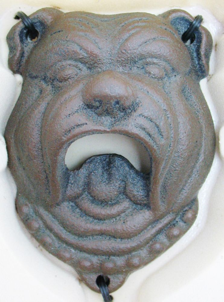 Pottery Barn Rustic Cast Iron Metal Wall Mount Bulldog