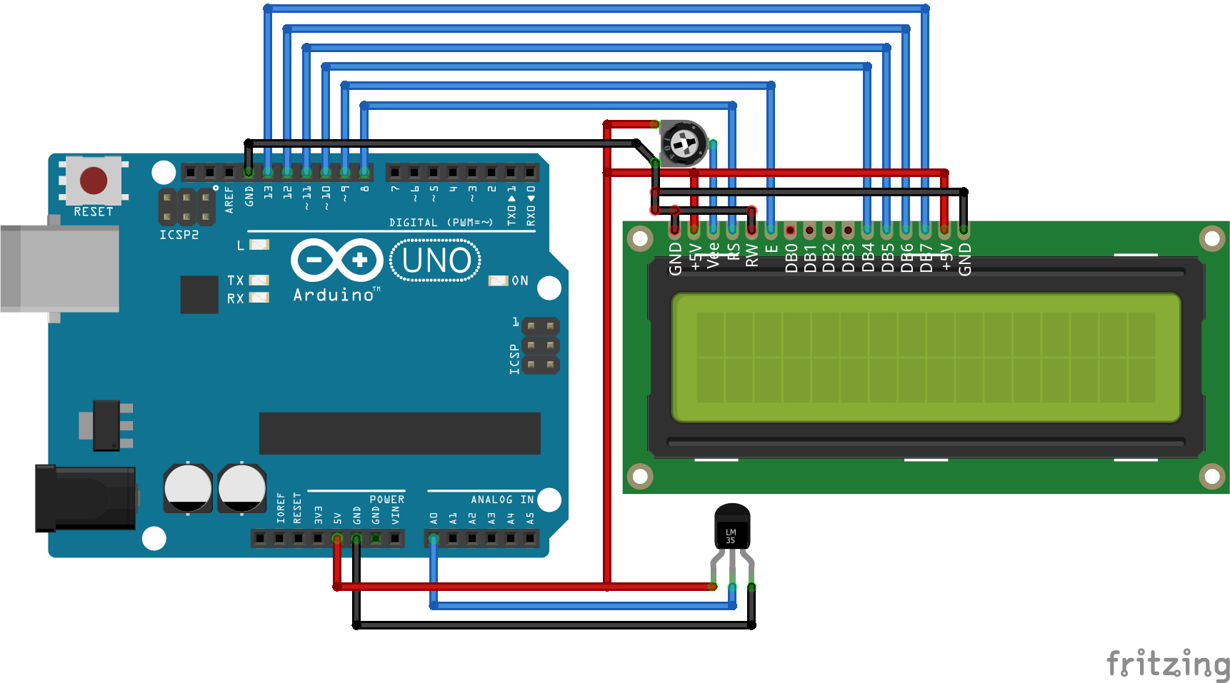 Arduino LM35 Temperature Sensor Project consisting circuit and ...
