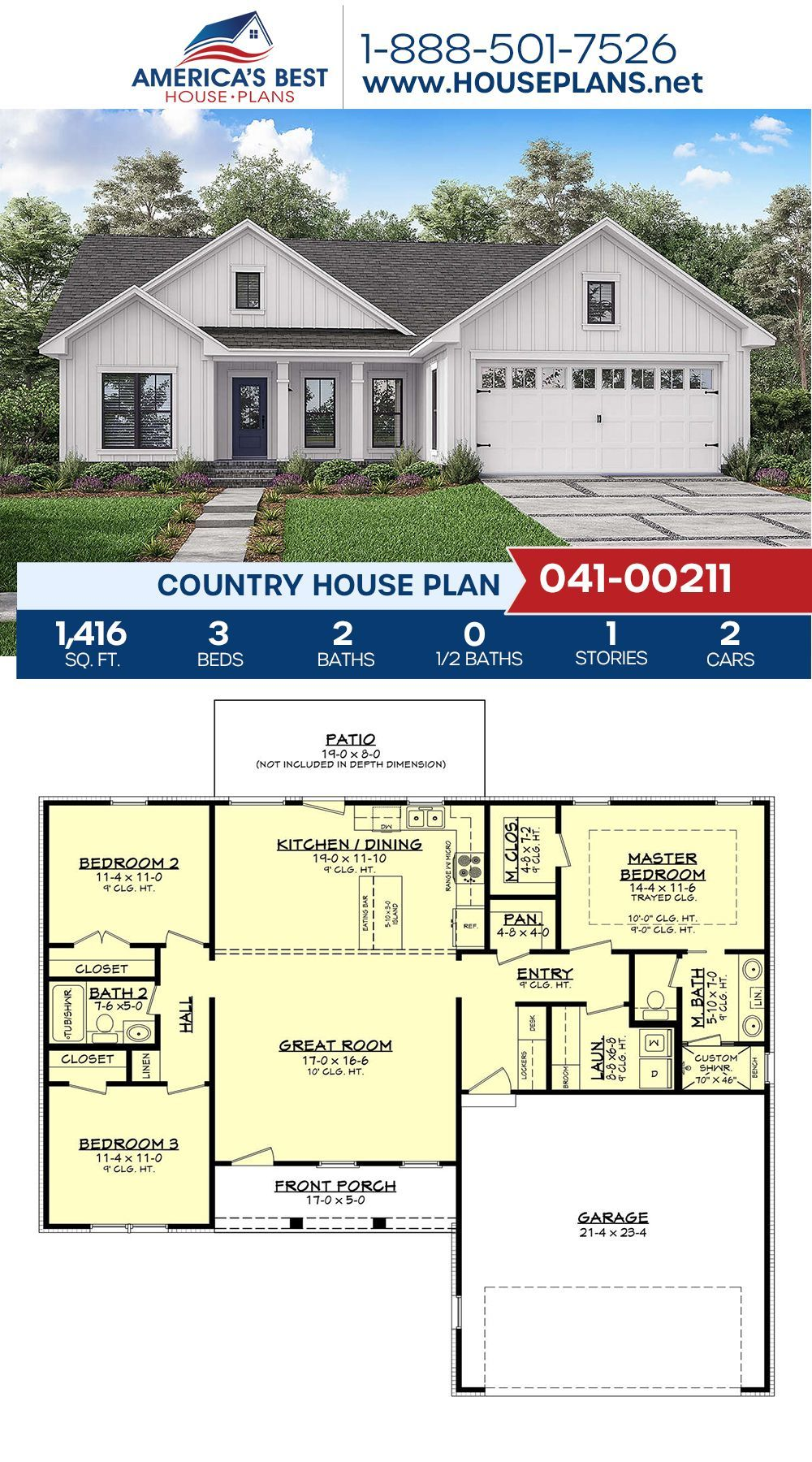 Country House Plan 041 00211 A 1 Story Country Home Plan 041 00211 Features 1 416 Sq Ft 3 In 2020 Country House Plan Ranch House Plans House Plans Farmhouse