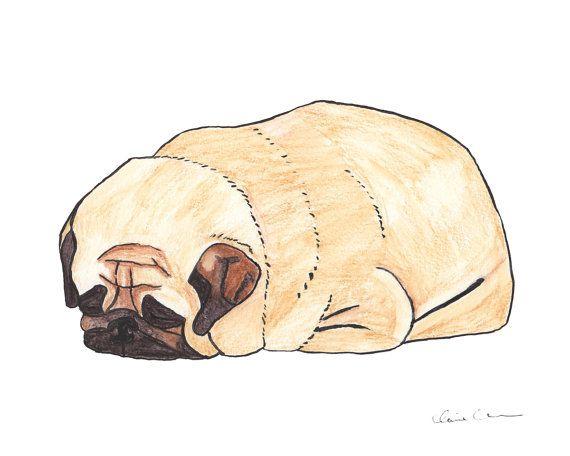 Pugloaf Sleeping Pug Print Pug Art Dog Art By