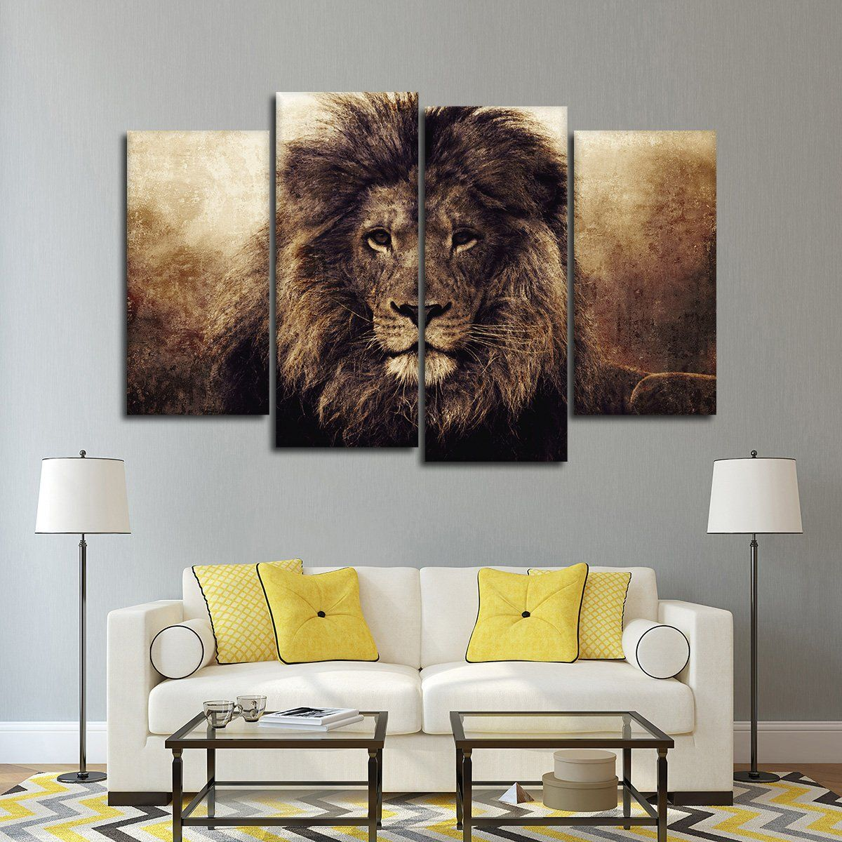 ABSTRACT LION SPLIT CANVAS WALL ART PICTURES PRINTS LARGER SIZES AVAILABLE