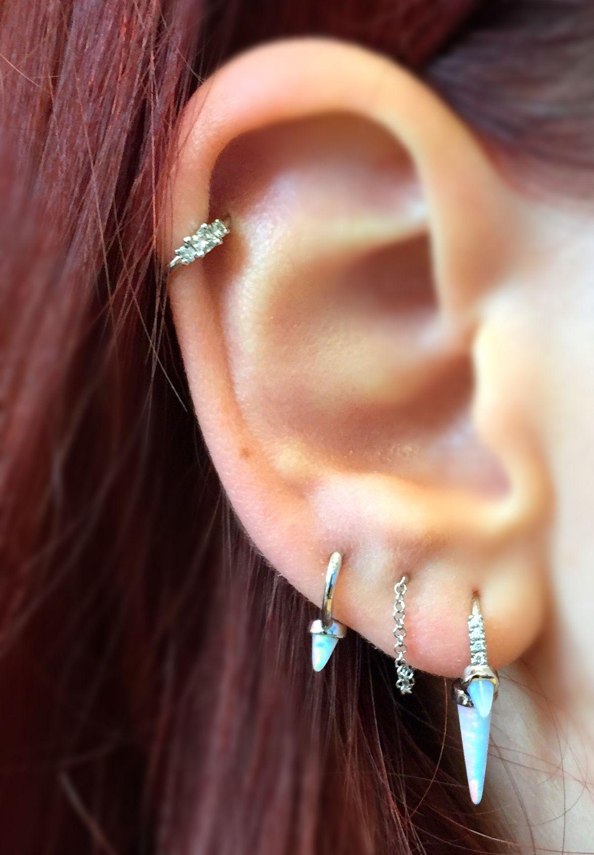Venus By Maria Tash Helix Ear Piercing White Opal Amazing