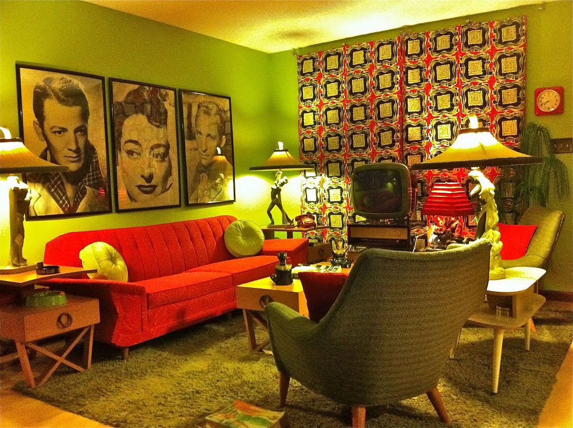 retro interior design for living room ideas with nice artist