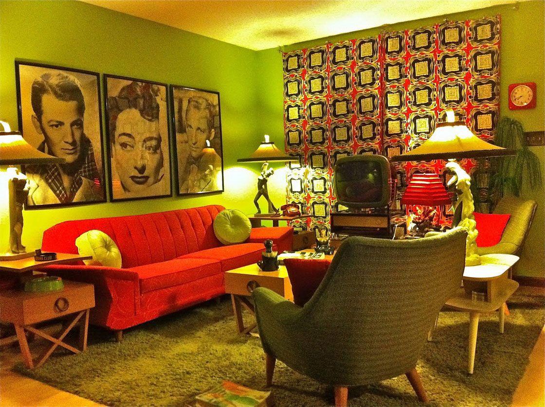 retro interior design for living room ideas with nice artist