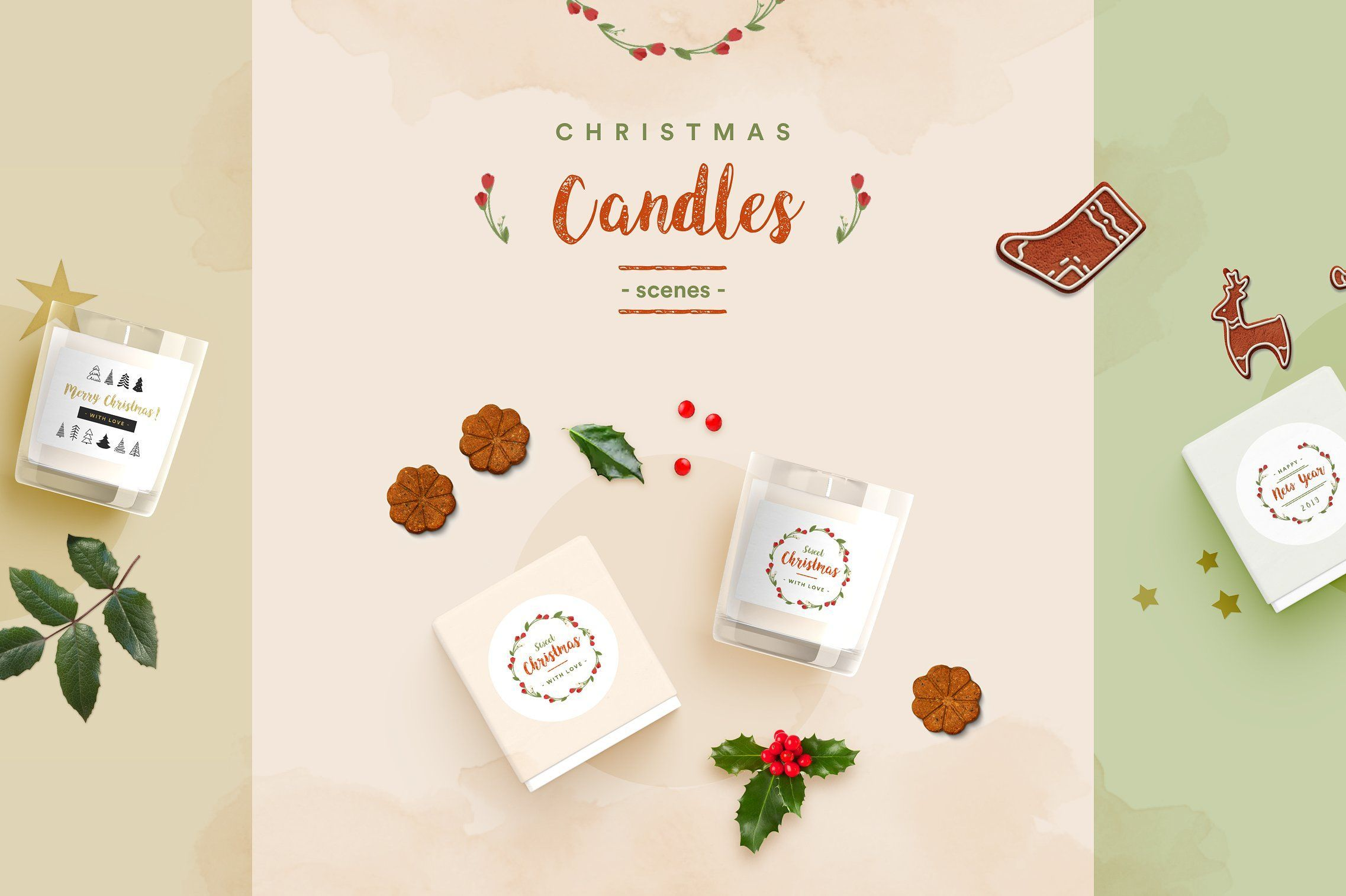 Christmas Top View.Christmas Candle Scene Creator A Clean And Modern Mockup
