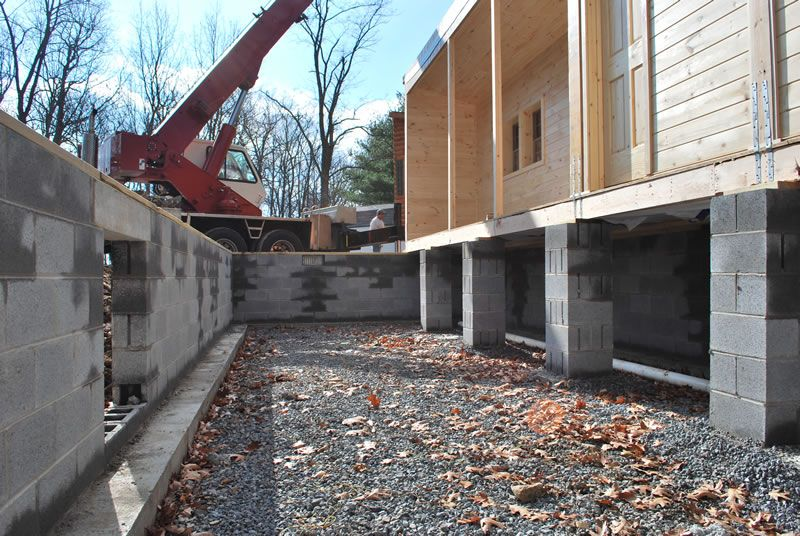 Fondation Of Cabin Concrete Blocks W Support Piers Every