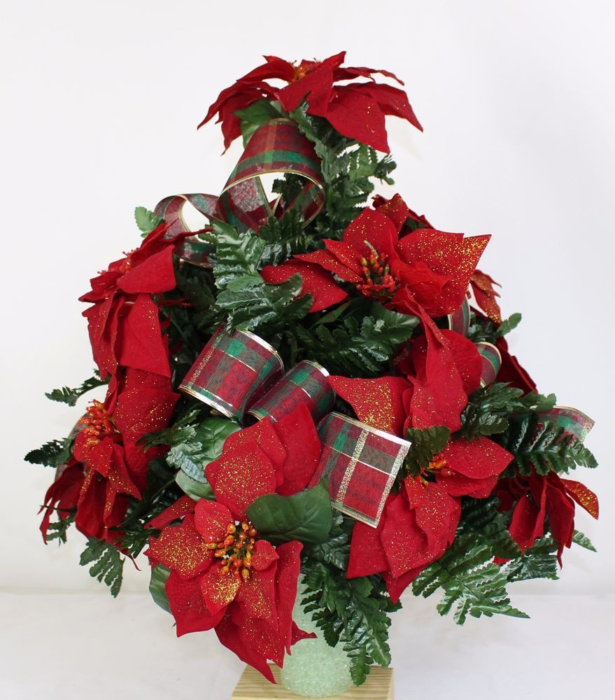 Beautiful Red Poinsettia's w Plaid Ribbon Christmas Cemetery Flower Arrangement
