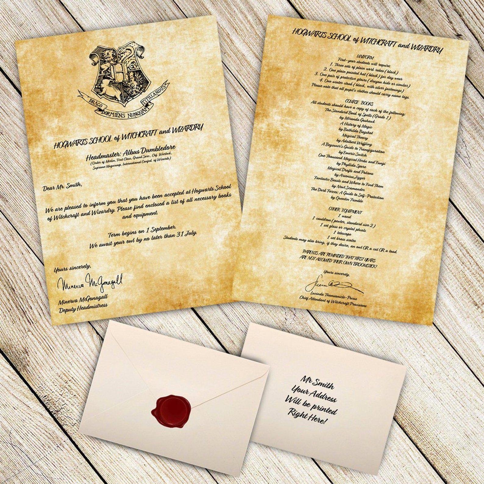 Hogwarts Acceptance Letter Hogwarts acceptance letter