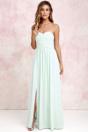 0ef9cc7b7796 You'll be admired as soon as you set foot in the party wearing the Moonlight  Serenade Mint Strapless Maxi Dress! Draping woven poly fabric, in a minty  green ...