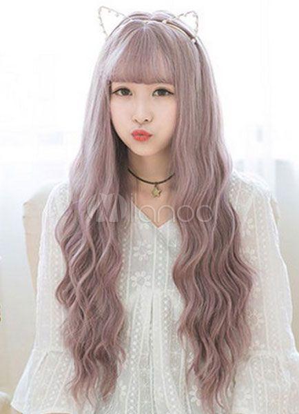 Perruques longs bouclés lavande synthétique tire-bouchon Curl des femmes ébouriffés perruques de cheveux avec frange
