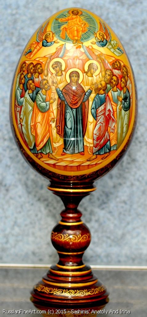 http://www.russianfineart.com/catalog/prod?productid=21314 The Ascension Of Christ Easter egg Materials tempera acrylic linden wood acrylic varnish   Masters:  Sashinis' Anatoly and Irina