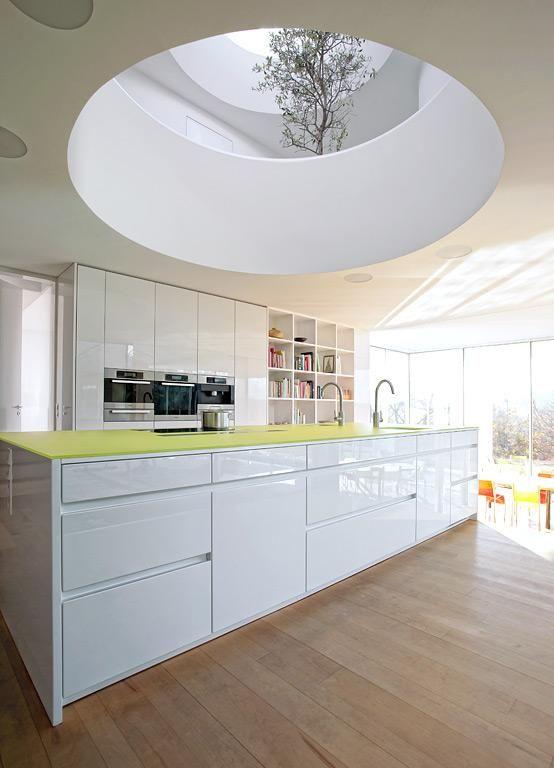 Farbe in der Küche Weiß mit Farbe  - küche in weiß