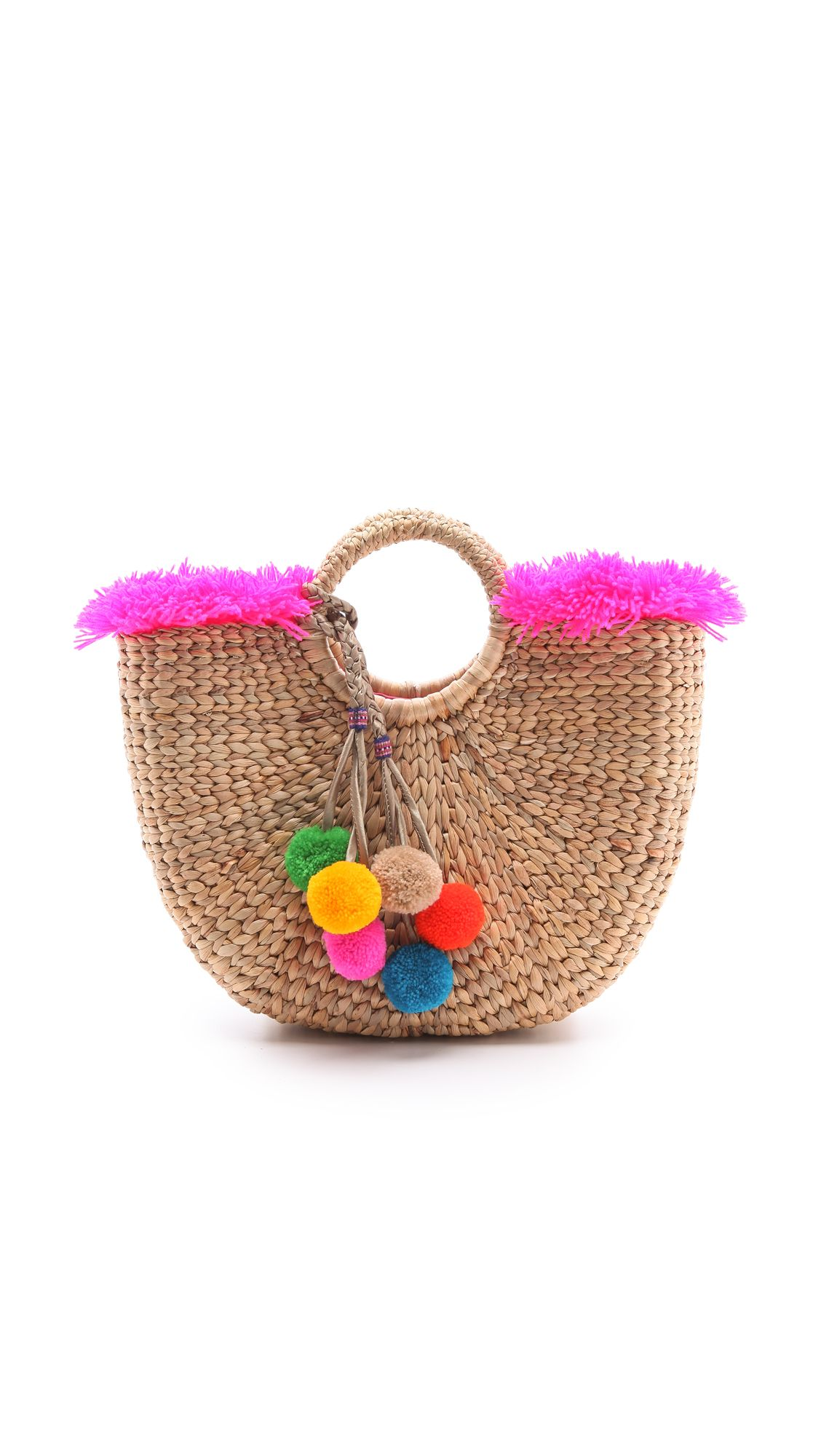 This Structured Straw Handbag Is Styled With Cheerful Pom Poms And Bright Yarn Fringe Lined Weight Imported Thailand Measurements Height Length