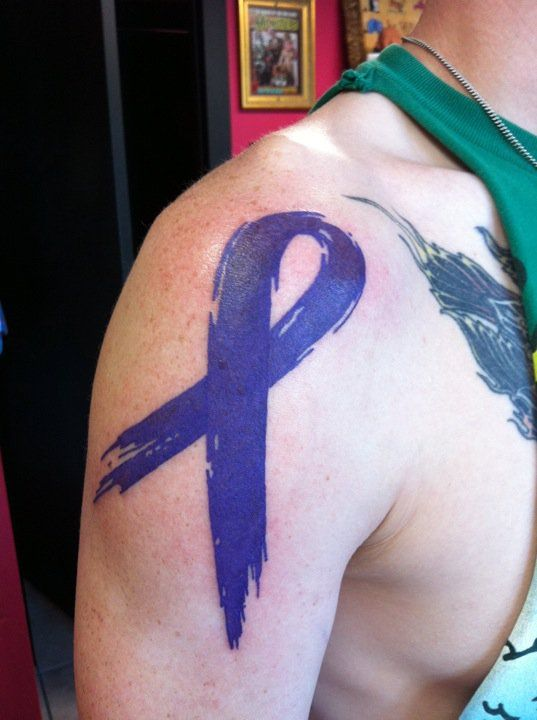 Cancer Tattoos For Men : cancer, tattoos, Cronh's, Disease, Ribbon, Tattoo., Switchblade, Tattoo,, Forney, Cancer, Tattoos,, Wrist, Tattoos, Guys,