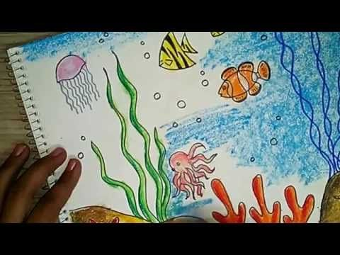 How to draw an underwater scene for kids - YouTube ...