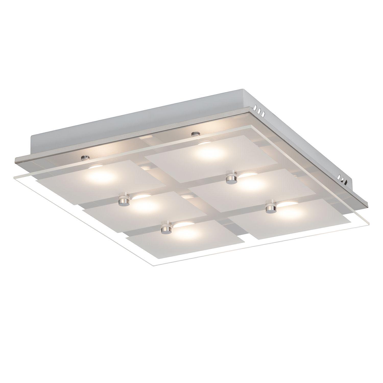 EEK A+, LED Deckenleuchte World I Glas Stahl 6