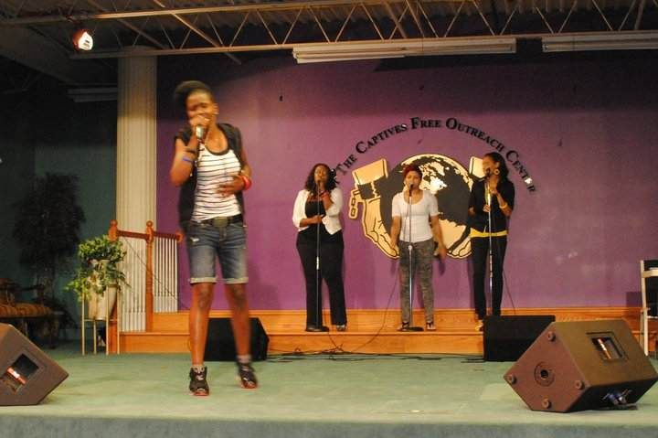 Shawnie Wright and her singers at Word Life Cafe at Set The Captives Free Outreach Center (STCFOC) in June 2011.