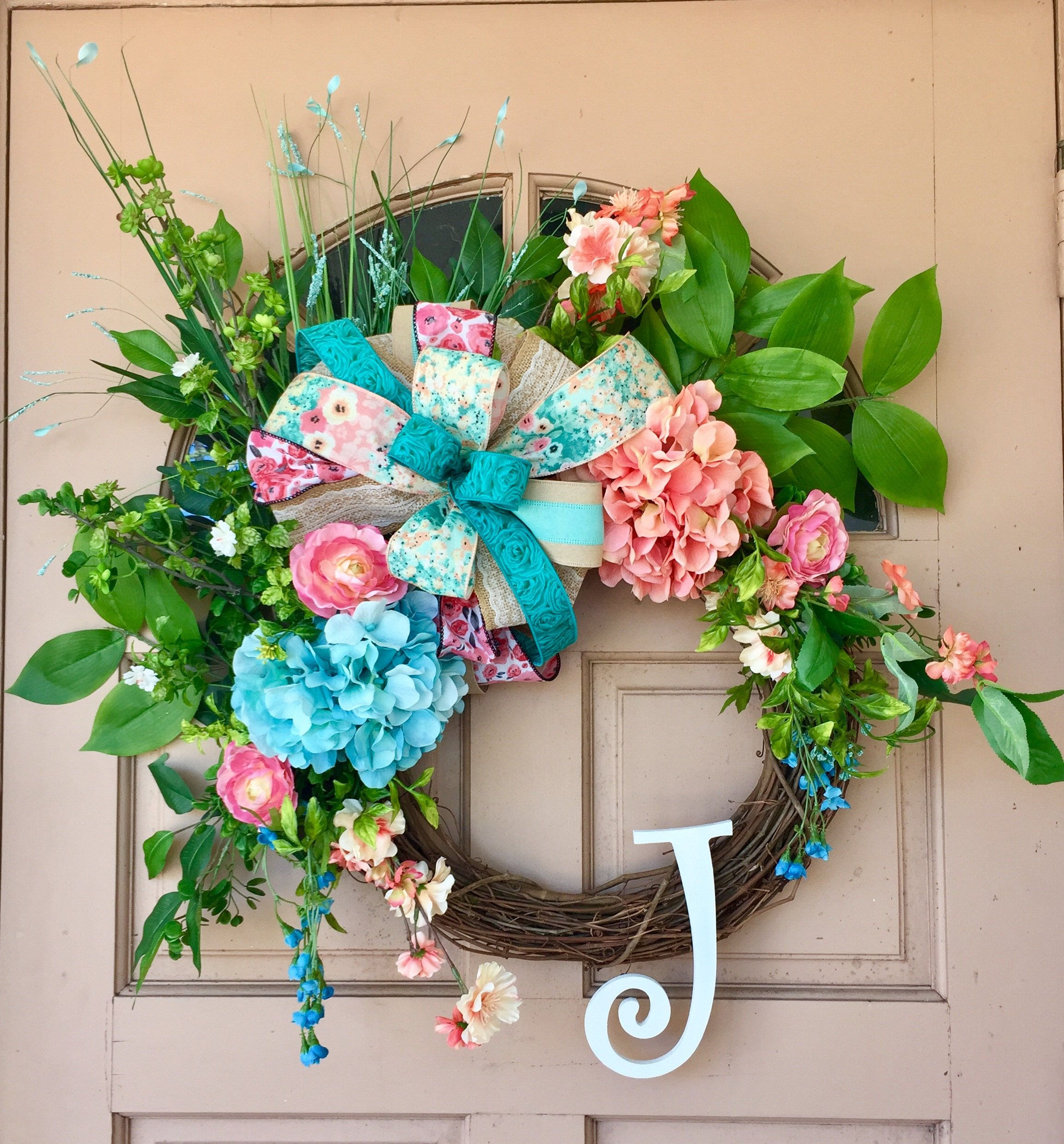 Reserved For Kim Tina Floral Wreath Spring Wreath Spring Wreath For Front Door Monogrammed Letter Wreath Flower Wre With Images Floral Wreath Letter Wreath Wreaths
