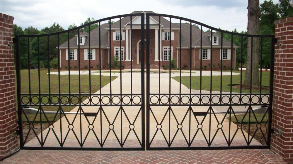 Wrought Iron Driveway Entry Gate 12ft Wide Dual Swing Fencing Handrails Beds Entry Gates Ornamental Iron Gates Brick Exterior House