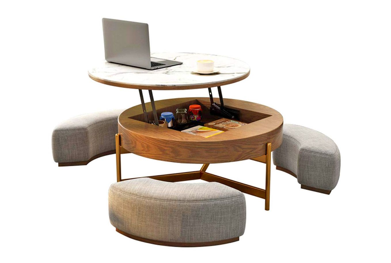 This Amazing Rising Coffee Table Has 3 Integrated Ottomans That Hide Underneath It In 2021 Coffee Table Coffee Table With Seating Coffee Table In Bedroom [ 916 x 1358 Pixel ]