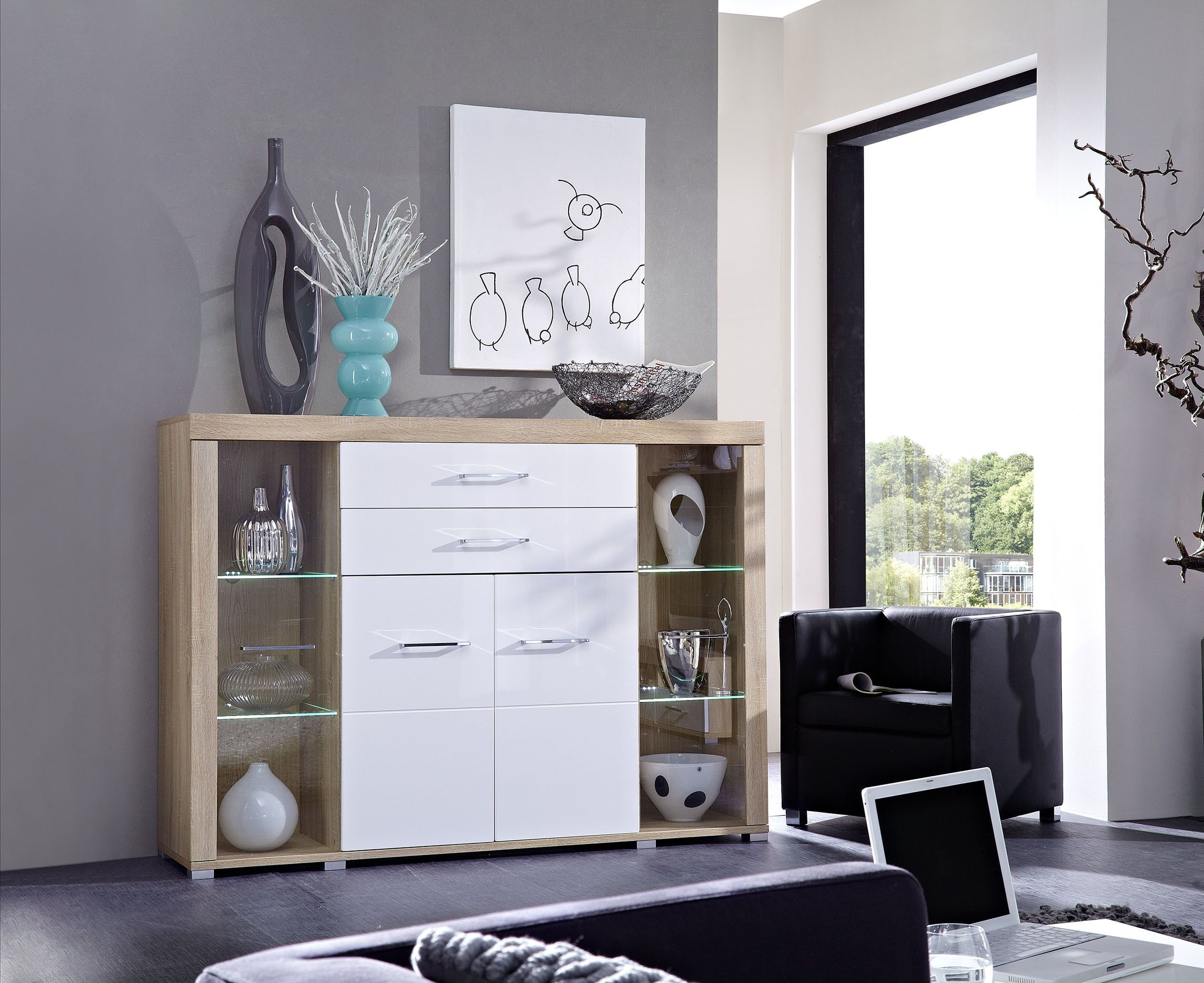 Modernes Highboard Sonoma Eiche Hell / Weiss Hochglanz Inklusive Led  Beleuchtung Woody 22 00327 MDF