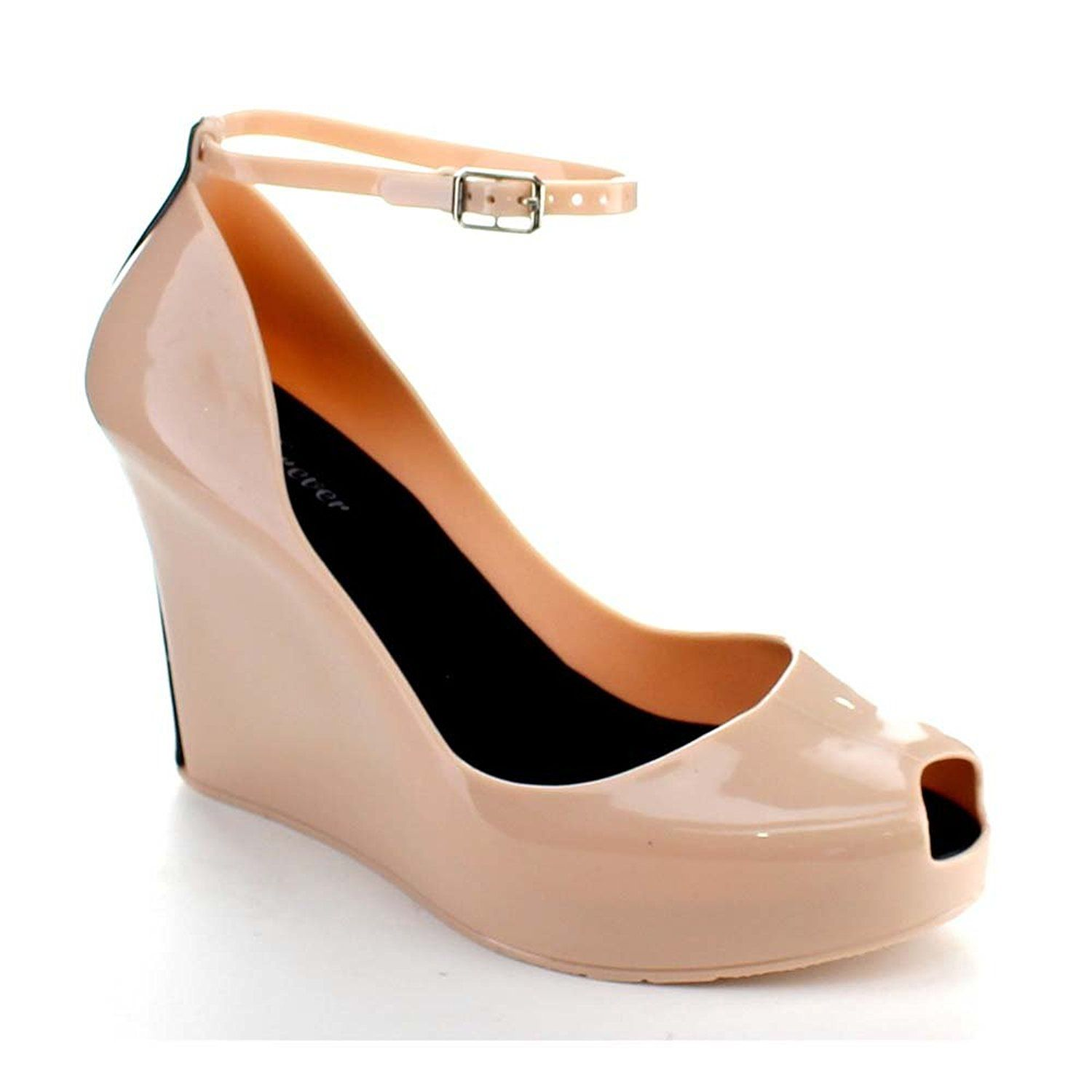 Women's jelly sandals size 10 - Forever Rosemary 86 Women S Peep Toe Wedge Heel Jelly Sandals Color Nude
