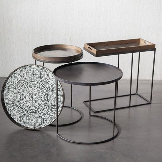 Notre Monde Set Of 2 Round Tray Table Bases Set Of Two Small And