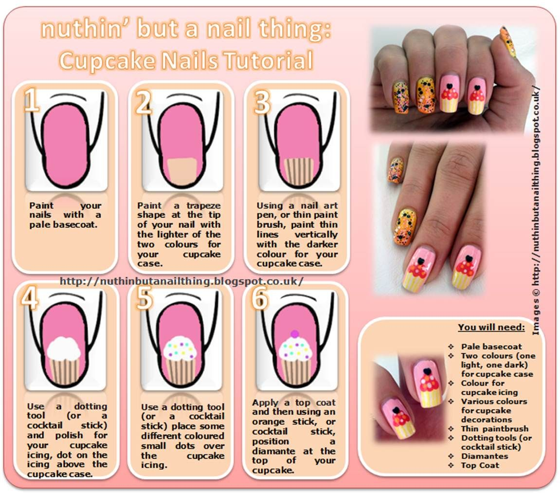 Cute nail tutorials for your new manicure cupcake nail art art cute nail tutorials for your new manicure prinsesfo Choice Image