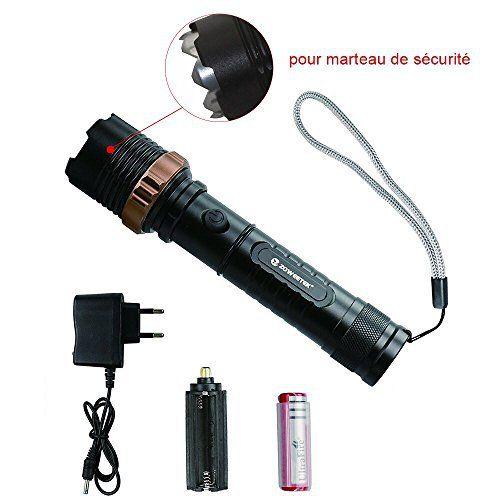 zoweetek ultra puissante lampe de poche led rechargeable zoomable avec 5 modes militaire torche. Black Bedroom Furniture Sets. Home Design Ideas
