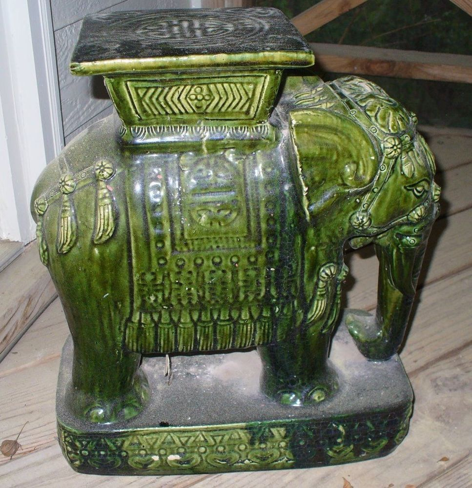 Miraculous Elephant Eerald Green Ceramic Garden Seat Plant Stand Stool Spiritservingveterans Wood Chair Design Ideas Spiritservingveteransorg