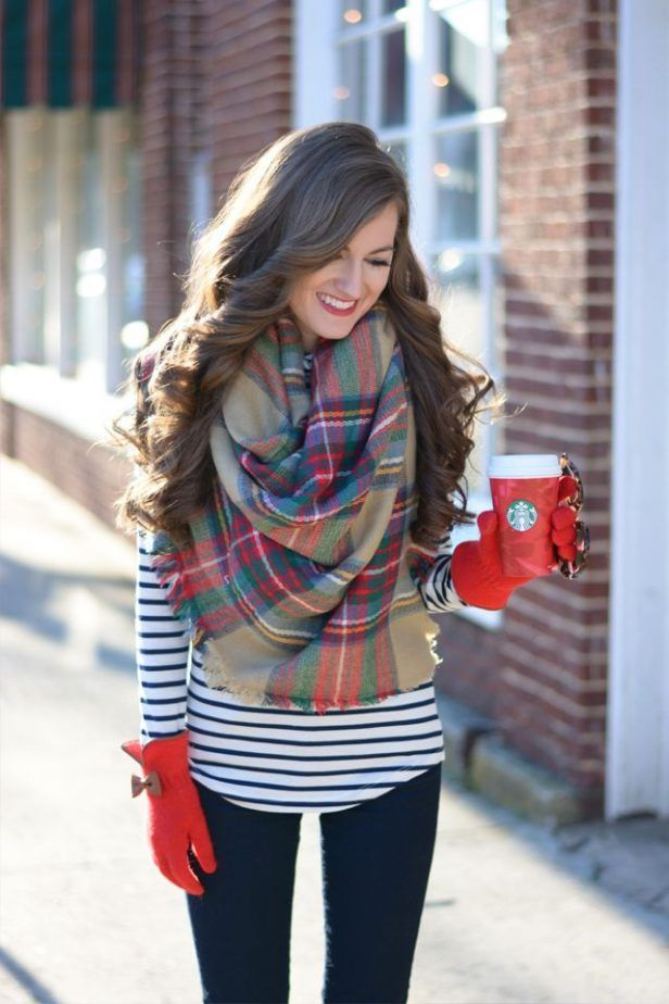 Plaid Scarf And Striped Top 2017 Street Style