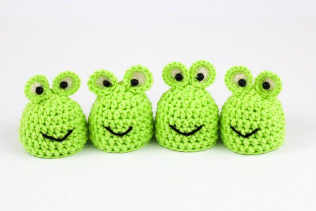 Eierwärmer Froschgeschenkmitbringsel 4er Set Crochet Egg Cozy