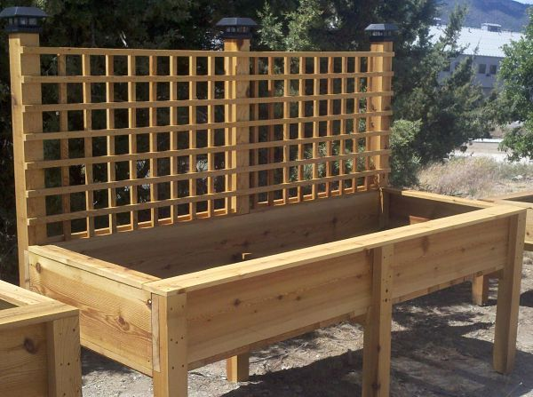 raised planter box with lattice and lights Raised Garden Bed