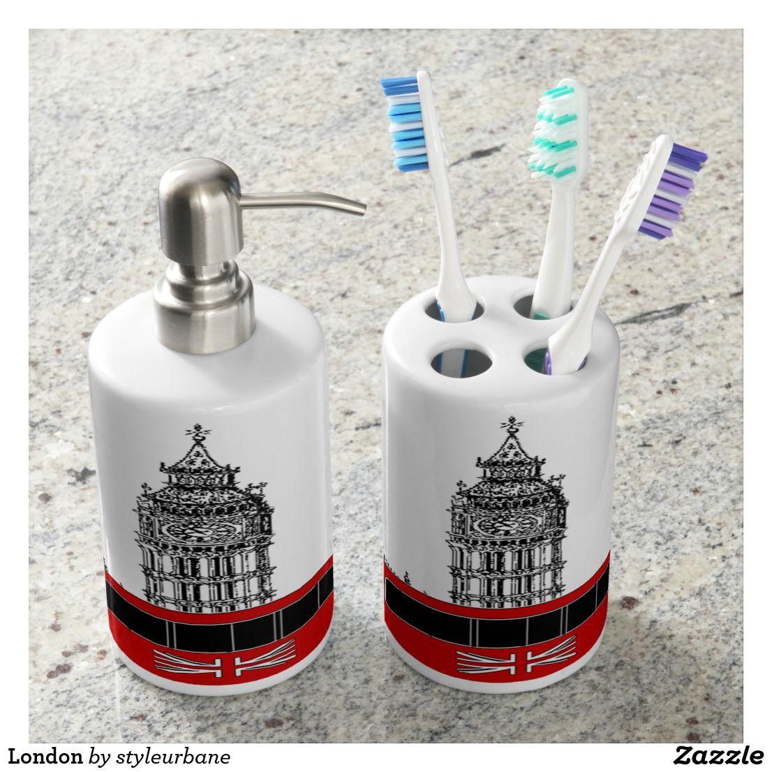 London Soap Dispenser & Toothbrush Holder   Toothbrush holders, Bath ...