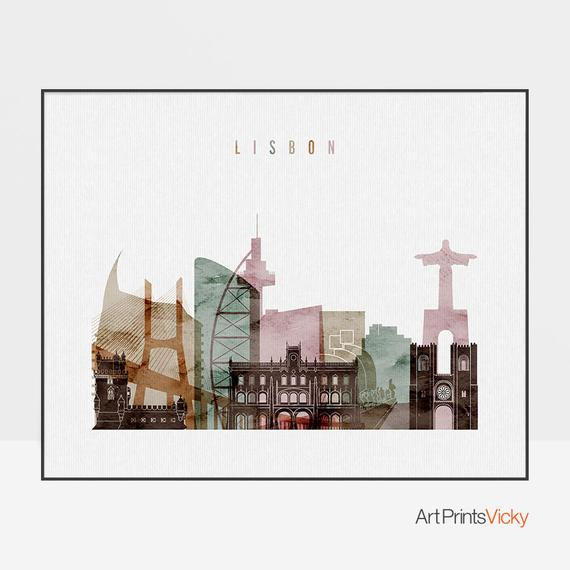 Lisbon Art Print Watercolor Poster Wall Art Lisbon Skyline Etsy Poster Wall Art World Map Wall Art Map Wall Art