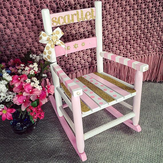 Pleasing Hand Painted And Personalized Kids Rocking Chair Childs Gmtry Best Dining Table And Chair Ideas Images Gmtryco