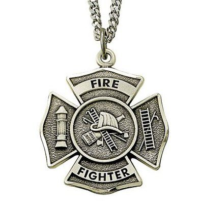 1 Sterling Silver Antiqued Firefighter Medal With Philippians 4