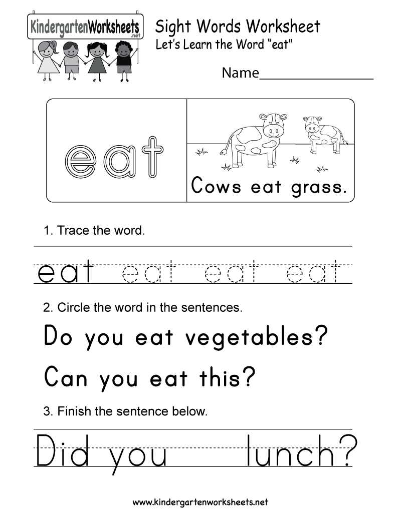 Worksheets Sight Words Worksheets Free this is a sight word worksheet for the eat you can download free kindergarten english kids