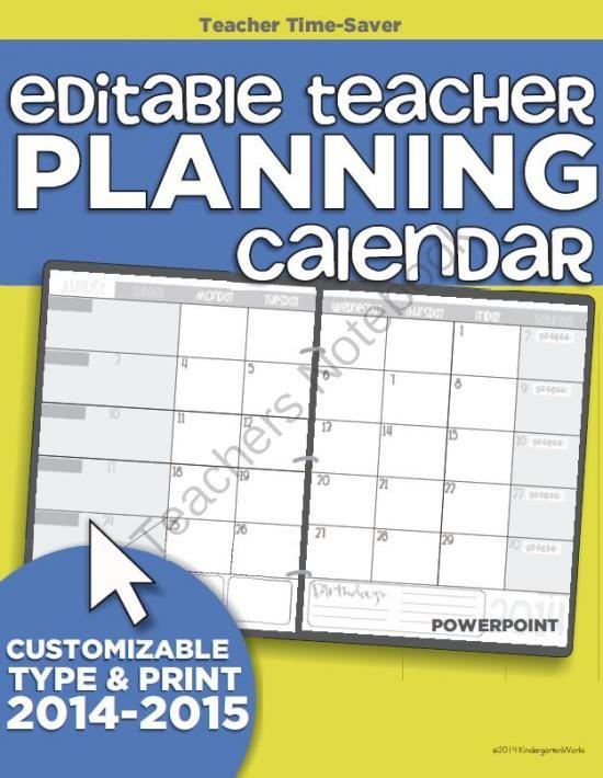 2014 2015 Editable Teacher Planning Calendar Template From