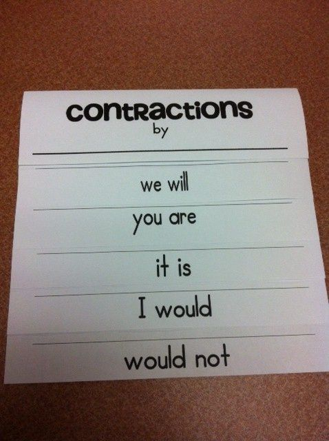 contraction foldable with a video on how to make itI always get - make a receipt in word