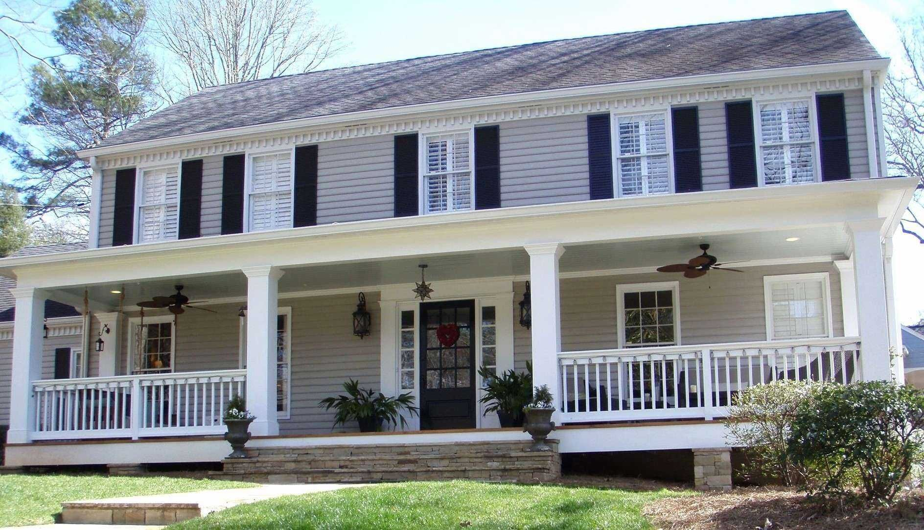 70 Awesome And Beautiful Front Porch Ideas Colonial Exterior Colonial House Exteriors Front Porch Design