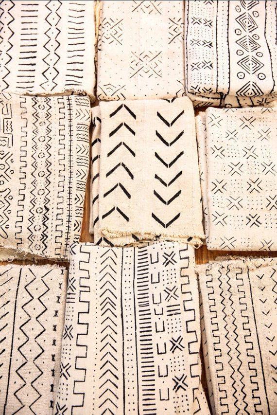 Tissu/plaid/couverture Mudcloth africain, motifs ethniques noirs ...
