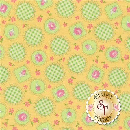 """Retro 30's Child Smile 31042-50 by Lecien Fabrics: Retro 30's Child Smile is a collection by Lecien Fabrics. This fabric features green gingham doilies and flower cameos on a yellow background.Width: 43""""/44""""Material: 100% CottonSwatch Size: 6"""" x 6"""""""