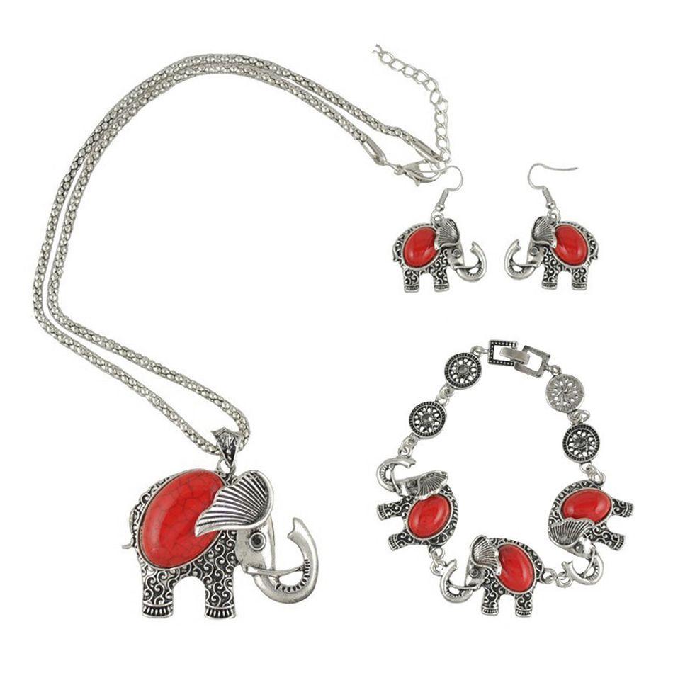 Fashion bohemian turquoise elephant pendant necklace u bracelet