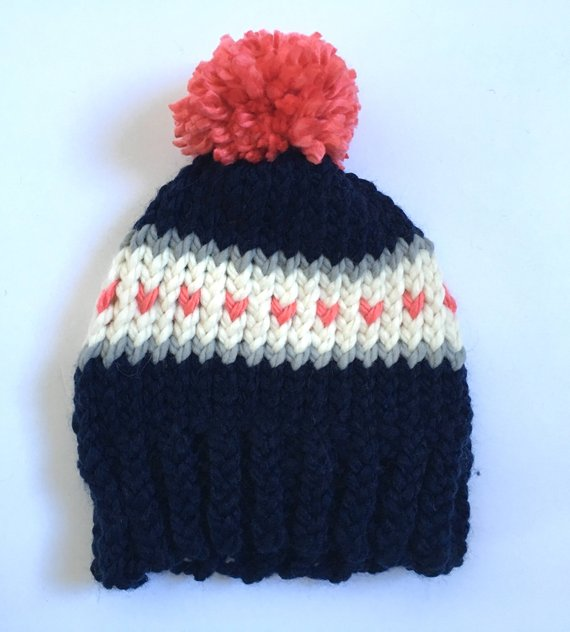 508e64e4d7d Navy Hat with Coral Hearts and Pom Pom
