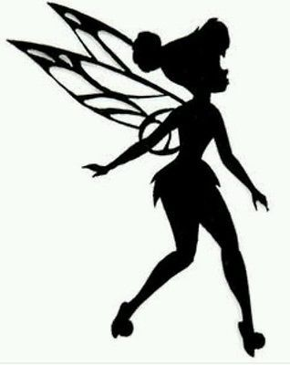Tinkerbell Fairy Silhouette with Stars Wall Stickers or Car Decals, lamps 15cm