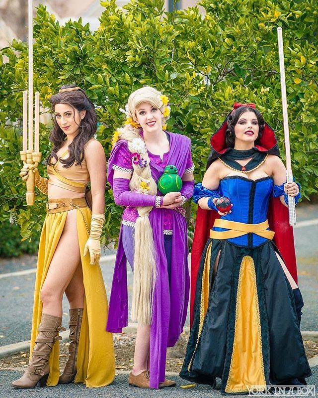 ✨Jedi Belle, Rey-Punzle and Sith Snow White!✨ I would absolutely love to have a full squad of Jedi/Sith/rebel/etc. princesses one day!   @reagankmay as #Reypuzzle ☀️ @amberarden as #sithsnowwhite  @elizabethrage as #jedibelle  Lightsabers by @ltoycreations and @jedi_dude_jay Photo by @yorkinabox