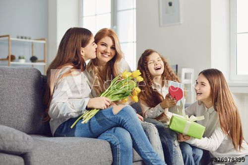 Happy Mother's Day. Children daughters give mom a bouquet of flowers at home. , #AFF, #Children, #daughters, #Day, #Happy, #Mother #Ad