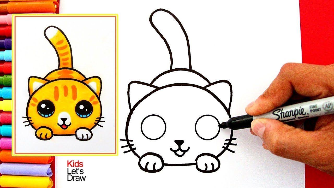 Aprende A Dibujar Un Gato Kawaii Facil How To Draw A Cute Kitten Easy Como Dibujar Un Gato Dibujos De Gatos Dibujo Gato Facil